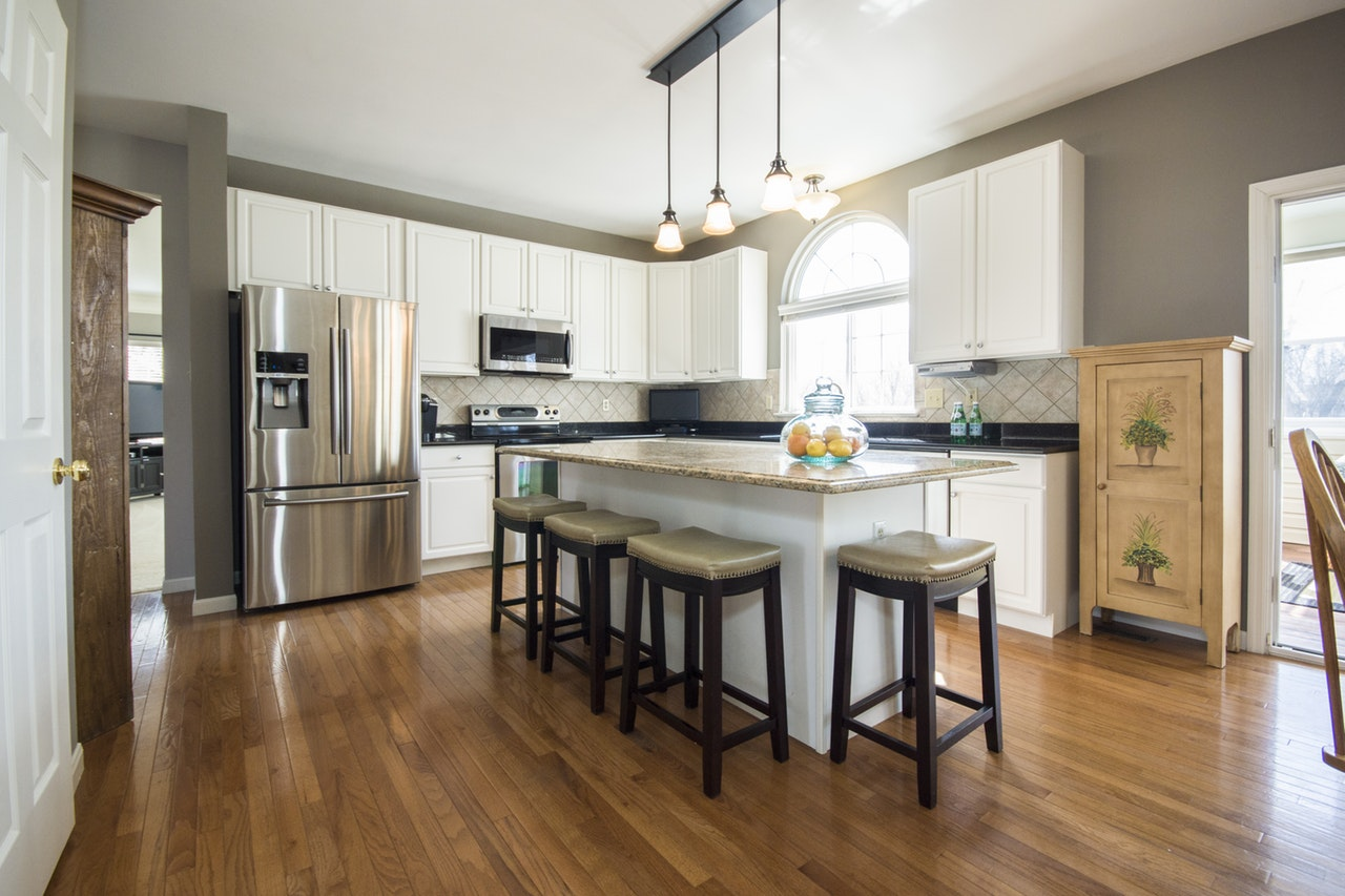 hardwood on a kitchen as one of the best types of flooring