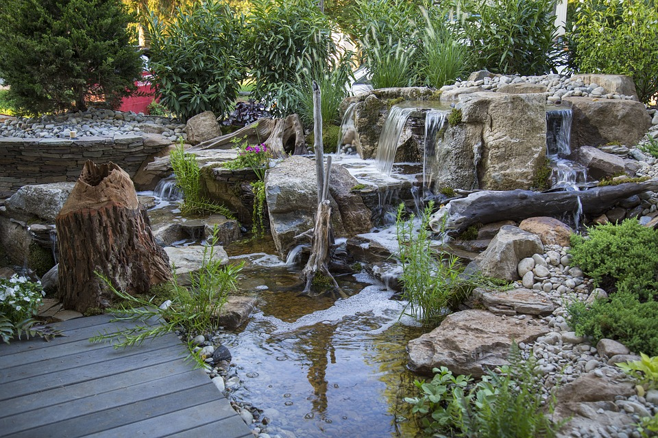 Rock waterfalls for landscaping