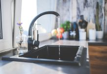 Water is flowing at the best kitchen faucet